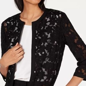 Anne Klein Embroidered Mesh Cropped Cardigan